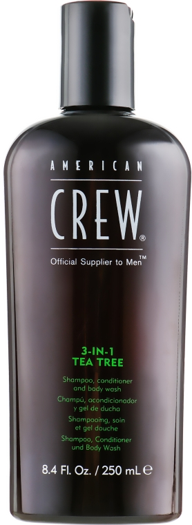 "Средство по уходу за волосами и телом 3-в-1 ""Чайное дерево"" - American Crew Tea Tree 3-in-1 Shampoo, Conditioner and Body Wash"