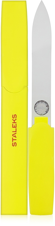 Пилочка хрустальная в пластиковом футляре FBC-13-128, желтая - Staleks