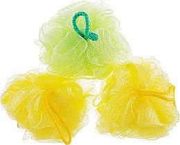 """Губка банная сетчатая """"Bant"""", желтая + салатовая + желтая - Акватория — фото N1"""