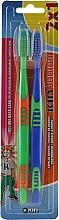 Духи, Парфюмерия, косметика Набор детских зубных щеток, зеленая + синяя - Kin Junior Toothbrush Pack