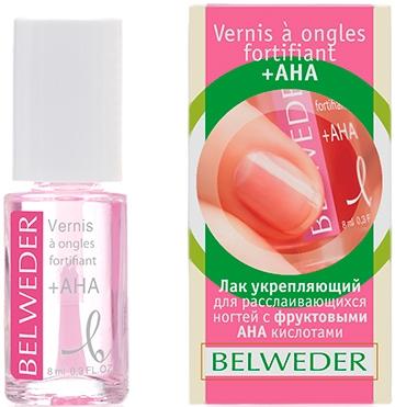 Укрепляющий лак для расслаивающихся ногтей с фруктовыми (АХА) кислотами - Belweder +AHA Nail Polish
