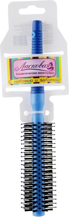 Расческа для ежедневного ухода пластиковая круговая Small, синяя - Ласковая