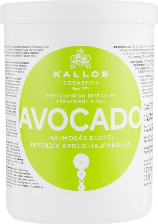 """Маска для волос до мытья головы """"Avocado"""" - Kallos Cosmetics KJMN Avocado Hair Mask"""
