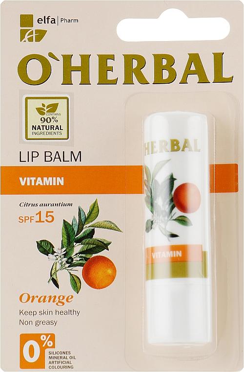 """Витаминный бальзам для губ """"Vitamin"""" с маслом апельсина, SPF 15 - O'Herbal"""