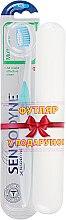 Духи, Парфюмерия, косметика Зубная щетка с мягкой щетиной + футляр, бело-голубая - Sensodyne Multicare Soft