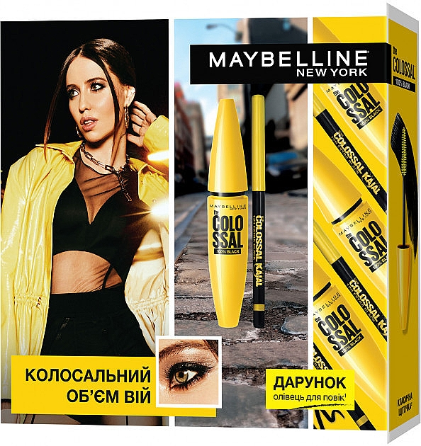 Набор - Maybelline New York The Colossal 100% Black (mascara/10.7ml + eye/pencil/0.25g)