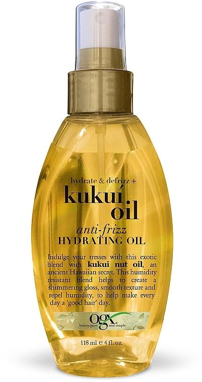 Масло-спрей для увлажнения и гладкости волос с маслом гавайского ореха (кукуи) - OGX Kukui Oil Anti-Frizz Hydrating Oil