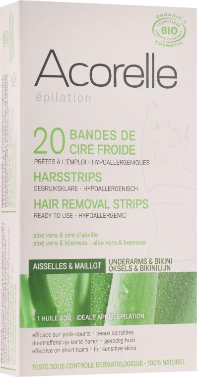 """Восковые полоски для депиляции зоны бикини """"Алоэ и пчелиное молочко"""" - Acorelle Wax Strips"""