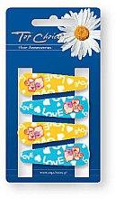 """Духи, Парфюмерия, косметика Заколки для волос """"Love"""" 23033, 4 шт, желтые и голубые - Top Choice"""