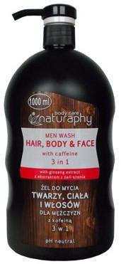 Мужской гель-шампунь для душа - Bluxcosmetics Naturaphy Hair, Body & Face Man Wash With Caffeine 3in1