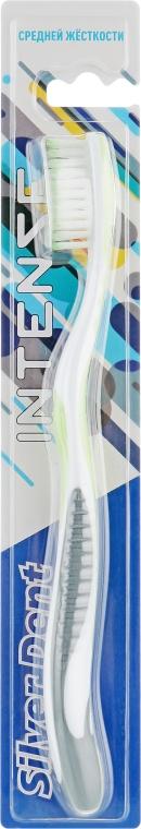 Зубная щетка, средней жесткости, серо-салатовая - Modum Silver Dent Intense