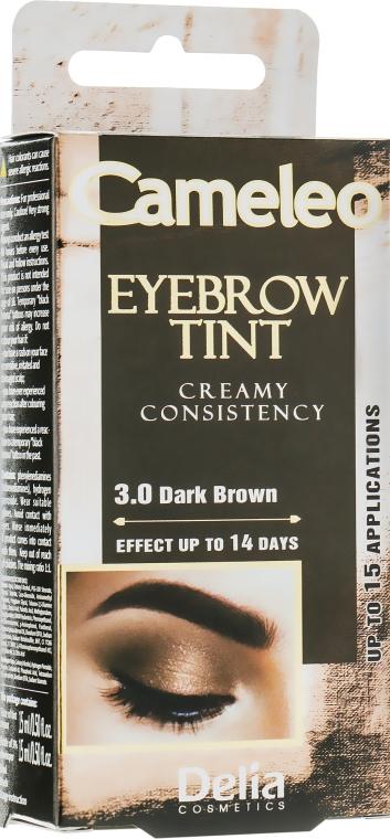 Крем-краска для бровей, темно-коричневая - Delia Eyebrow Tint Cream Cameleo 3.0 Dark Brown