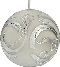 Духи, Парфюмерия, косметика Декоративная свеча, шар, серый с завитушками, 8 см - Artman Christmas Ornament