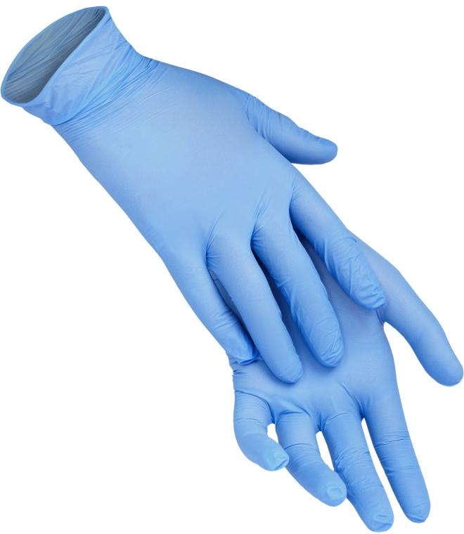Одноразовые перчатки нитриловые без пудры, размер M, голубые - XoKo