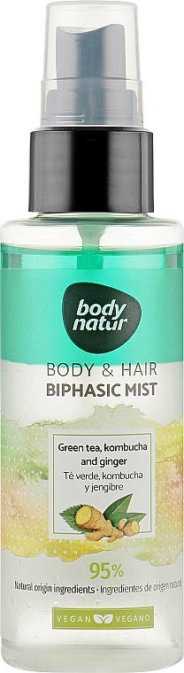Универсальный мист для тела и волос - Body Natur Body and Hair Mist Green Tea, Kombucha and Ginger