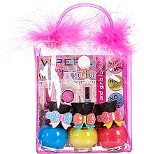 Духи, Парфюмерия, косметика Набор лаков в косметичке с помпонами - Tutu Peel-Off (n/polish/5mlx3 + bag)