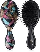 Духи, Парфюмерия, косметика Расческа для волос, E783-B0119, черная с цветным рисунком - Mari N.
