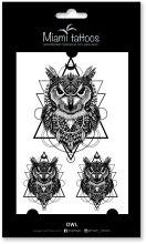 Духи, Парфюмерия, косметика Черные переводные тату - Miami Tattoos Owl