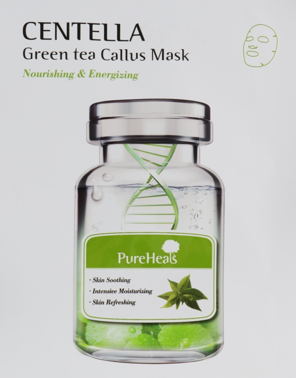 Восстанавливающая тканевая маска с экстрактом центеллы и зеленого чая - PureHeal's Centella Green Tea Callus Mask