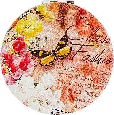 Зеркало косметическое круглое, цветы и бабочки - Lily Cosmetics