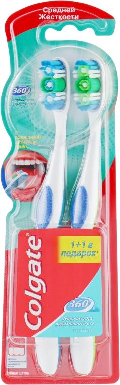 "Зубная щетка 360 ""Суперчистота"" средняя, 1+1, голубая+салатовая - Colgate — фото N1"