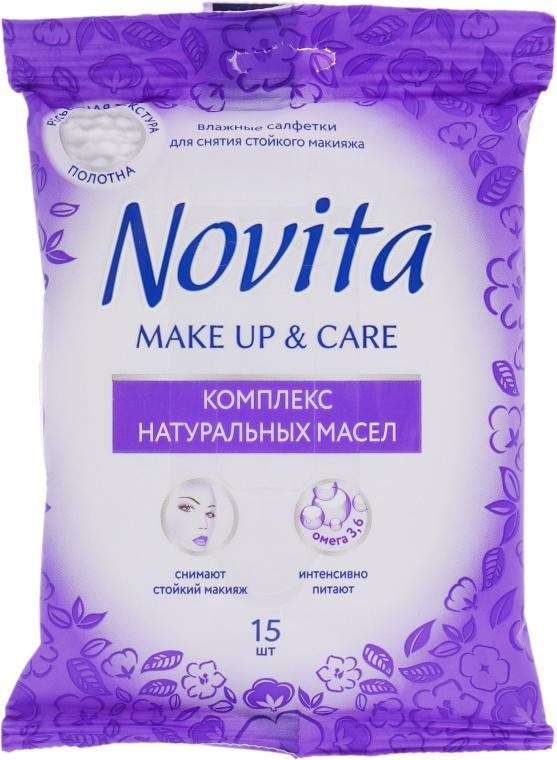 """Влажные салфетки """"Make up"""" с комплексом натуральных масел - Novita Delicate — фото N1"""