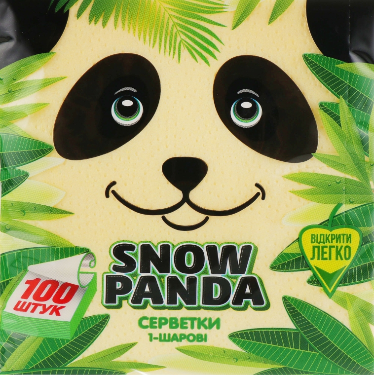 Салфетки бумажные, желтые, 100 шт - Снежная Панда