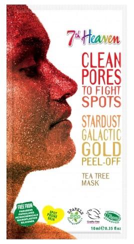 Маска-пленка для лица с маслом чайного дерева - 7th Heaven Stardust Galactic Gold Peel-Off Tea Tree Mask