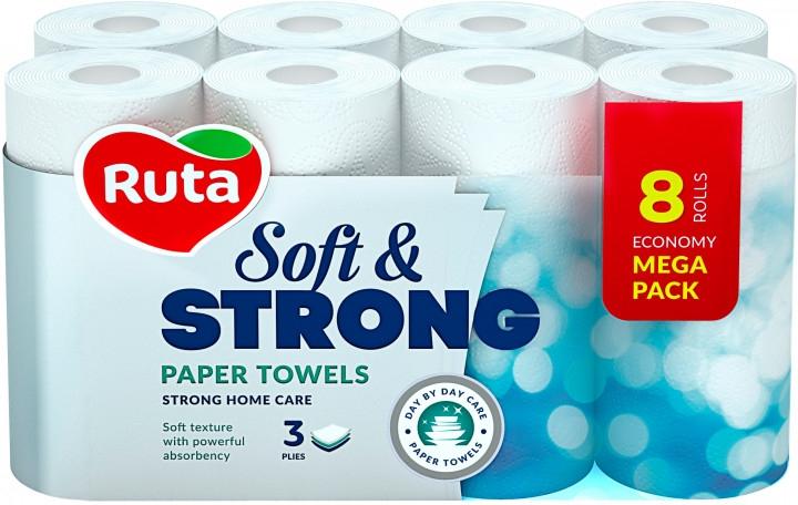 """Полотенца бумажные """"Soft & Strong"""", белые 3 слоя 8 рулонов - Ruta Paper Towel"""