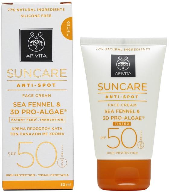 Солнцезащитный тонирующий крем против пигментных пятен с комплексом 3d Pro-Algae - Apivita Suncare Anti Spot Tinted Face Cream SPF50