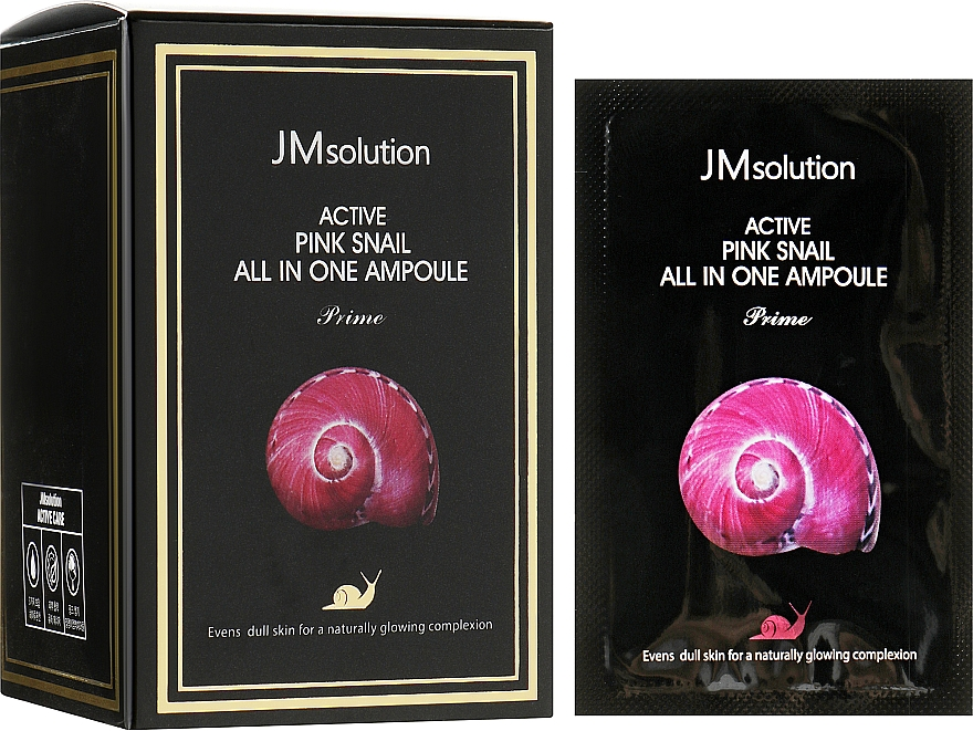 Сыворотка 3 в 1 с экстрактом розовой улитки и витамином В12 - JMsolution Active Pink Snail All In One Ampoule Prime