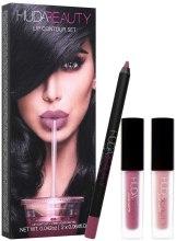 Духи, Парфюмерия, косметика Набор (lip/pencil/1,2g + lipstick/2x1,9ml) - Huda Beauty Desert Lip Contour Set