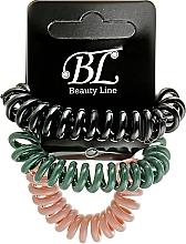 Духи, Парфюмерия, косметика Набор резинок для волос, 405004, пудровая+зеленая+черная - Beauty Line
