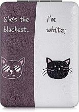 """Духи, Парфюмерия, косметика Зеркало косметическое прямоугольное """"Коты"""", фиолетово-белое - Lily Cosmetics"""