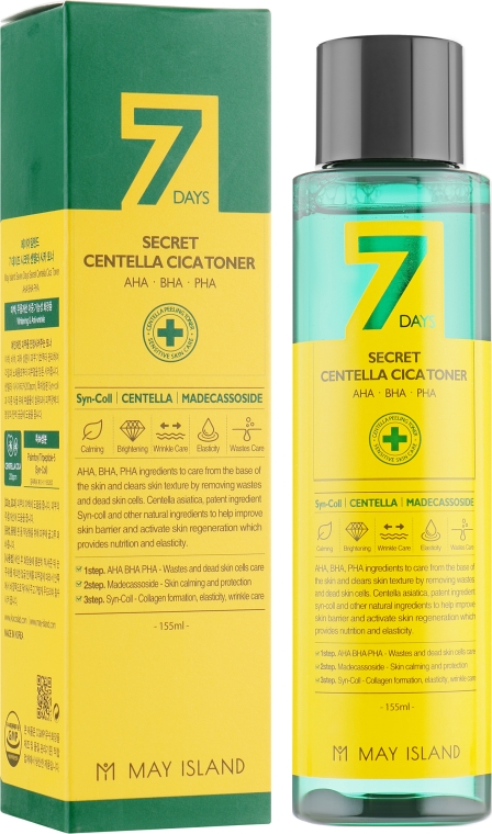Тонер для лица с экстрактом азиатской центеллы - May Island 7 Days Secret Centella Cica Toner