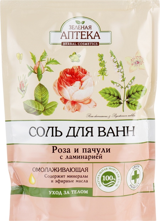 """Омолаживающая соль для ванны """"Роза и Пачули с ламинарией"""" - Зеленая Аптека"""