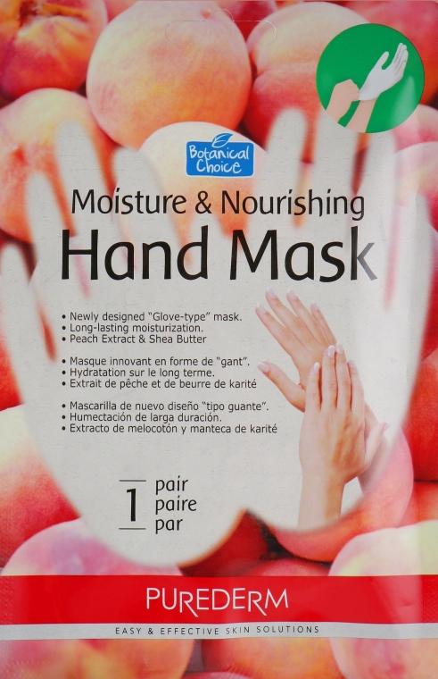 Маска-перчатки для рук увлажняющая и питательная на основе персика - Purederm Moisture & Nourishing Hand Mask