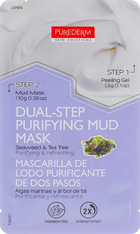 Двухступенчатая маска для лица - Purederm Dual-Step Purifying Mud Mask Seaweed & Tea Tree