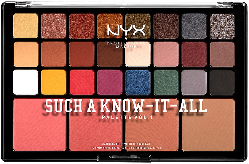 Палетка для макияжа - NYX Professional Makeup Such A Know-It-All Eyeshadow, Blusher & Contour Palette