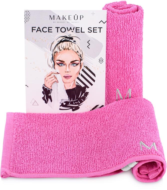"""Дорожный набор полотенец для лица, розовые """"MakeTravel"""" - Makeup Face Towel Set"""