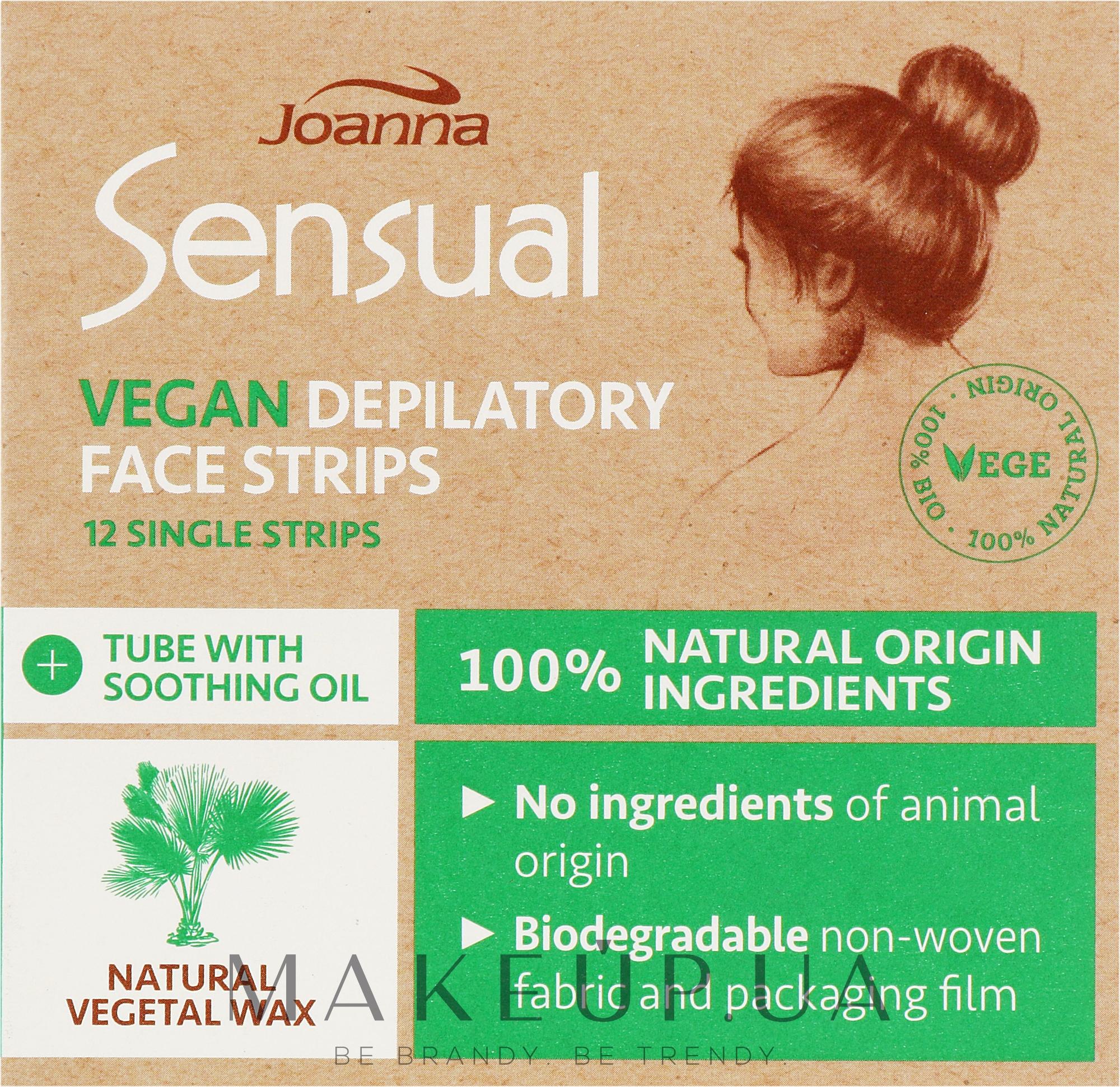 Пластырь с растительным воском для депиляции лица - Joanna Sensual Depilatory Vegan Wax Strips — фото 12шт