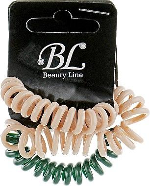 Набор резинок для волос, 405004, бежевая+зеленая+бежевая - Beauty Line