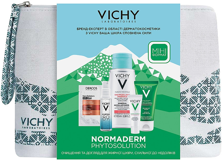 Комплексный набор-уход - Vichy Normaderm (gel/50ml + fluid/3ml + micel/water/100ml + gel/boost/10ml + shmp/6ml + bag)