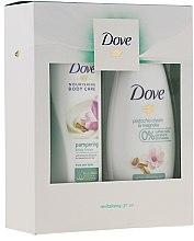 Набор - Dove Pistachio Cream & Magnolia (sh/gel/250ml + b/lot/250ml) — фото N1
