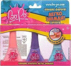Духи, Парфюмерия, косметика Набор лаков для ногтей 3шт, розовый, фиолетовый, голубой - BoPo