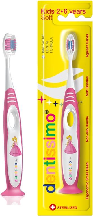 Детская зубная щетка (от 2 до 6 лет), розовая - Dentissimo Kids