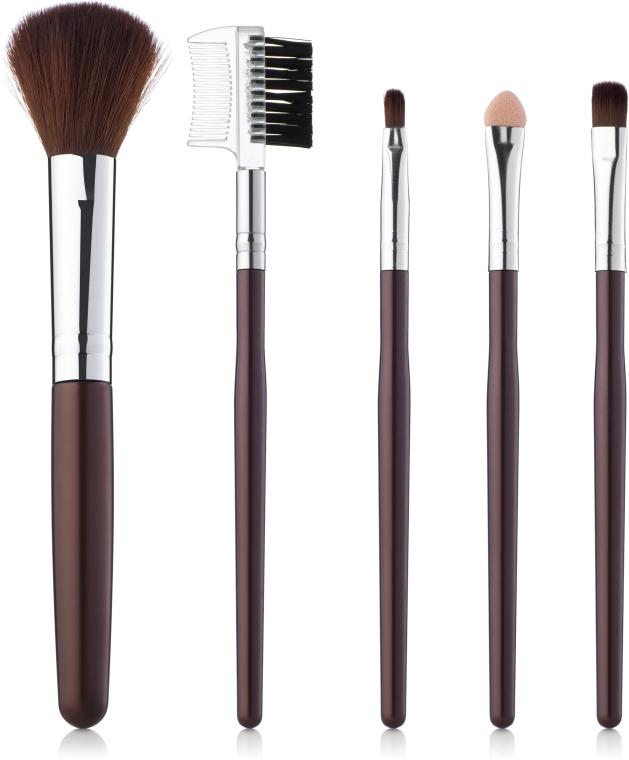 Набор кистей для макияжа 5шт, коричневые - Aise Line Makeup Brush Set