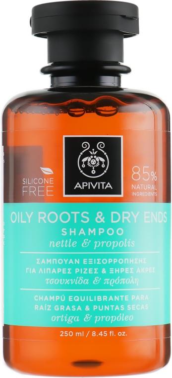 Шампунь для жирных корней и сухих секущихся кончиков с прополисом и крапивой - Apivita Shampoo For Oily Roots And Dry Ends With Nettle & Propolis
