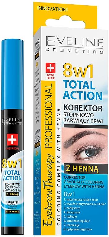 Корректор для бровей с окрашивающим эффектом - Eveline Cosmetics 8in1 Total Action Eyebrow Corrector With Henna