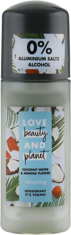 """Дезодорант шариковый """"Кокосовая вода и цветы мимозы"""" - Love Beauty&Planet"""